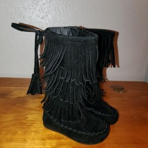 Link Girl baby Black Fringed Boots size 4